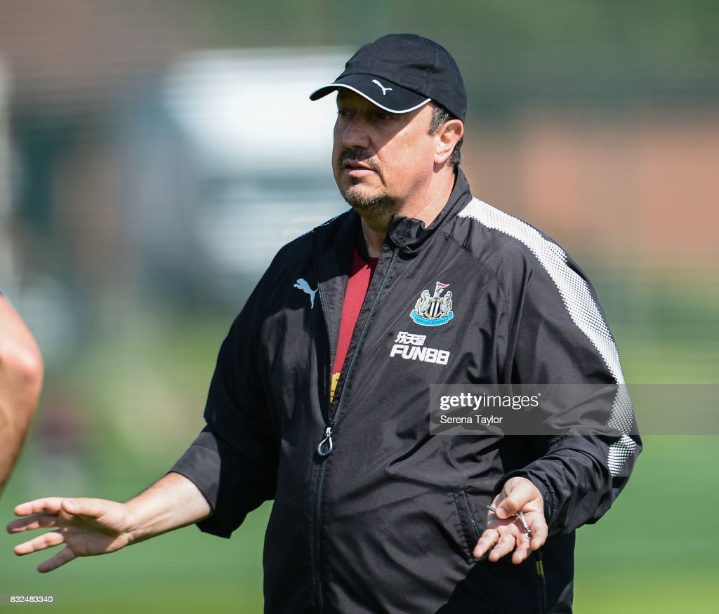 Newcastle United's Manager Rafael Benitez gestures during the Newcastle United Training session at the Newcastle United Training Centre on August 16, 2017, in Newcastle upon Tyne, England.