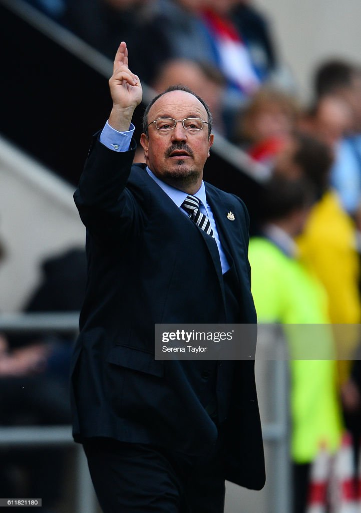 Newcastle United's Manager Rafael Benitez gestures from the sidelines during the Sky Bet Championship match between Rotherham United and Newcastle United at The New York Stadium on October 1, 2016 in Rotherham, England.