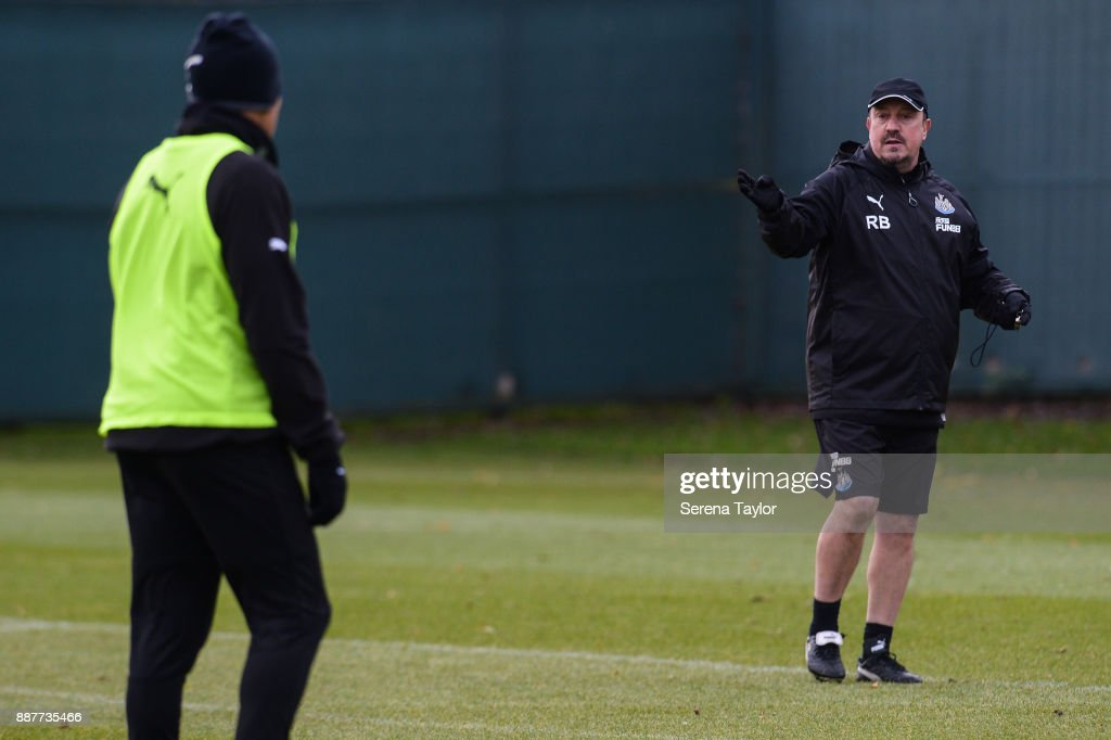 Newcastle United's Manager Rafael Benitez gives instructions during a Newcastle United training session at the Newcastle United Training Centre on December 7, 2017, in Newcastle upon Tyne, England.