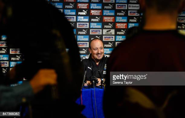 Newcastle United's Manager Rafael Benitez speaks at his press conference after the Newcastle United Training session at the Newcastle Untied Training...