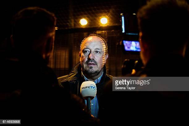 Newcastle United's Manager Rafael Benitez speaks to media during the Newcastle United Foundation Kickz Football Training Session at Soccerworld...