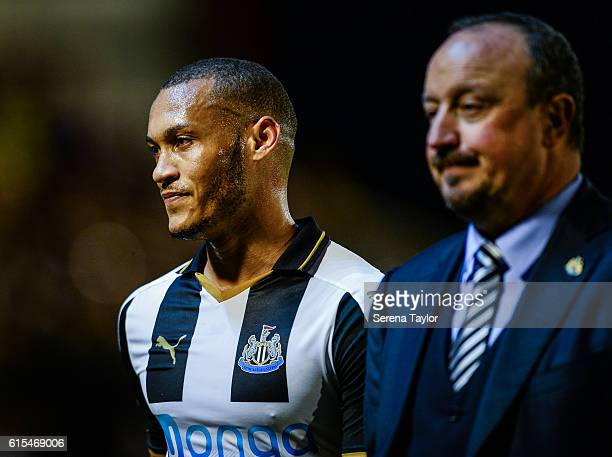 Newcastle Unitedâs Manager Rafael Benitez speaks to Yoan Gouffran after winning the Sky Bet Championship Match between Barnsley and Newcastle United...