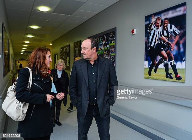 Newcastle United's Manager Rafael Benitez speaks with Pr Manager Liz Luff from the Sir Bobby Robson Foundation during a visit to the Sir Bobby Robson...