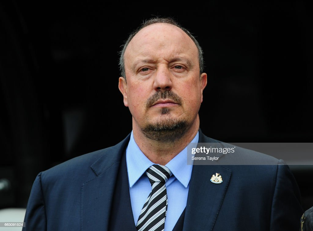 Newcastle United's Manager Rafael Benitez stands in the dugouts during the Sky Bet Championship match between Newcastle United and Wigan Athletic at St.James' Park on April 1, 2017 in Newcastle upon Tyne, England.