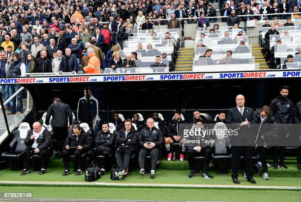 Newcastle Unitedâs Manager Rafael Benitez stands in the dugouts during the Sky Bet Championship Match between Newcastle United and Barnsley at...
