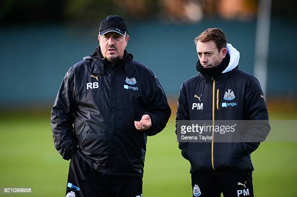 Newcastle Unitedâs Manager Rafael Benitez stands on the pitch with Assistant Manager Francisco De Miguel Moreno during Newcastle United Training...
