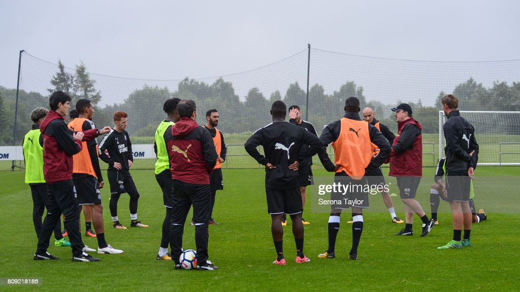 Newcastle Unitedâs Manager Rafael Benitez (third from right) talks to his players during the Newcastle United Training session at the Newcastle United Training Centre on July 5, 2017, in Newcastle upon Tyne, England.