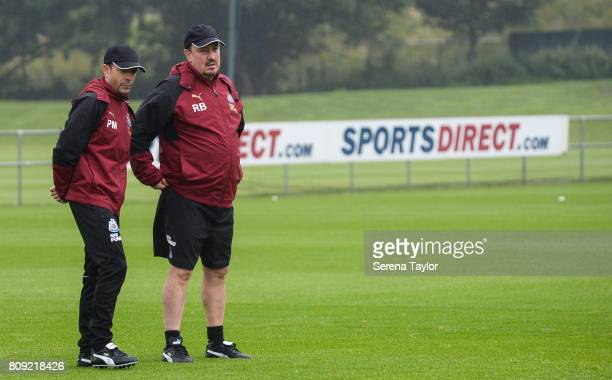 Newcastle Unitedâs Manager Rafael Benitez watches from the sidelines with Newcastle Unitedâs Assistant Manager Francisco De Miguel Moreno during the...