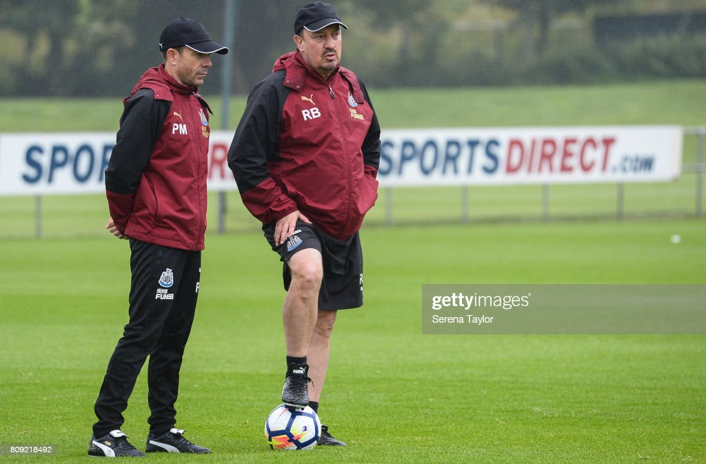 Newcastle Unitedâs Manager Rafael Benitez (R) watches from the sidelines with Newcastle Unitedâs Assistant Manager Francisco De Miguel Moreno during the Newcastle United Training session at the Newcastle United Training Centre on July 5, 2017, in Newcastle upon Tyne, England.