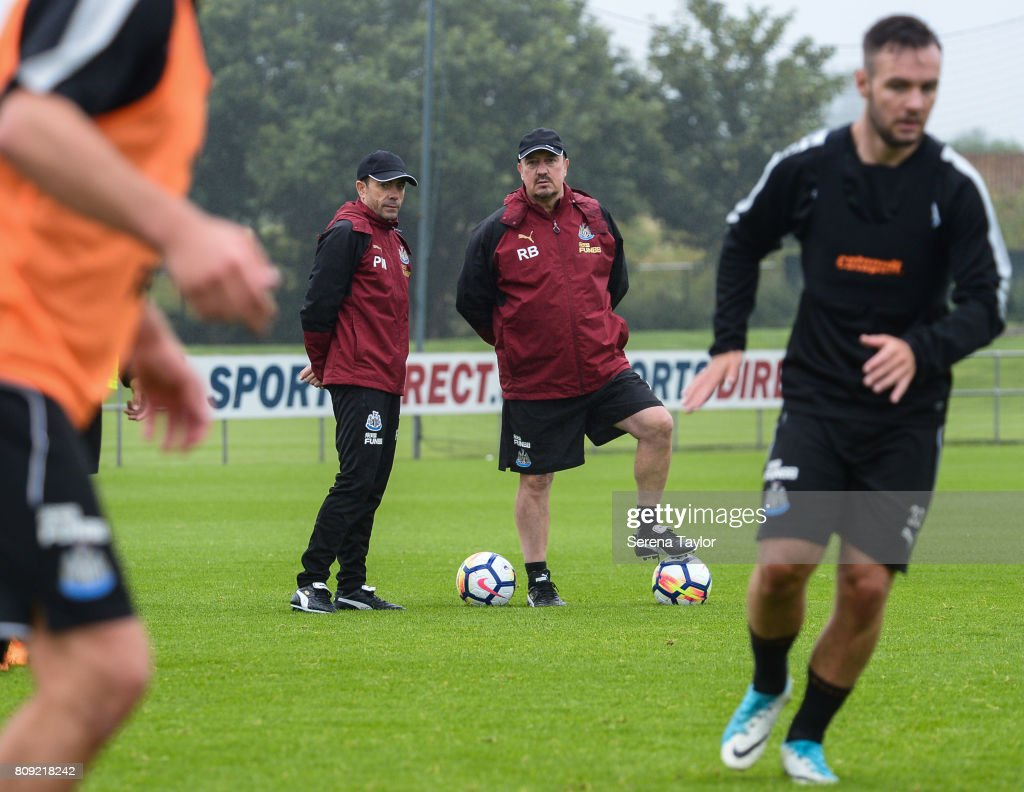 Newcastle Unitedâs Manager Rafael Benitez (second from right) watches training with Newcastle Unitedâs Assistant Manager Francisco De Miguel Moreno (second from left) during the Newcastle United Training session at the Newcastle United Training Centre on July 5, 2017, in Newcastle upon Tyne, England.