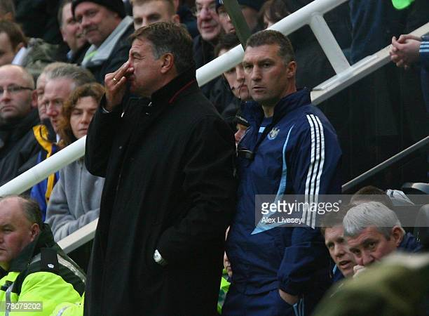 Newcastle United's manager Sam Allardyce and first team coach Nigel Pearson look on during the Barclays Premier League match between Newcastle United...