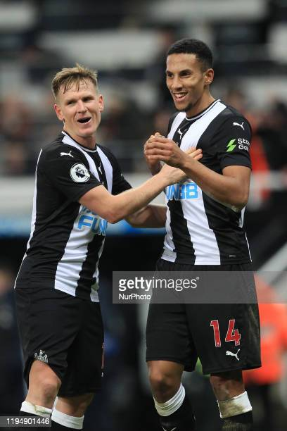 Newcastle United's Matt Ritchie and Isaac Hayden celebrate after the Premier League match between Newcastle United and Chelsea at St. James's Park,...