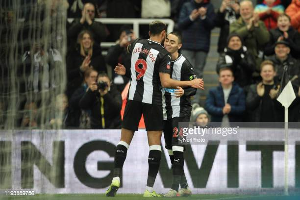 Newcastle United's Miguel Almiron celebrates with Joelinton after scoring during the FA Cup match between Newcastle United and Rochdale at St James's...