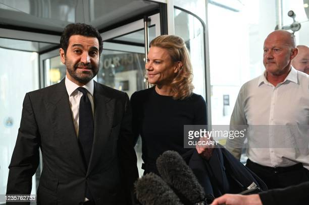 Newcastle United's new director Amanda Staveley and husband Mehrdad Ghodoussi talk to the media as she leaves the foyer of St James' Park in...