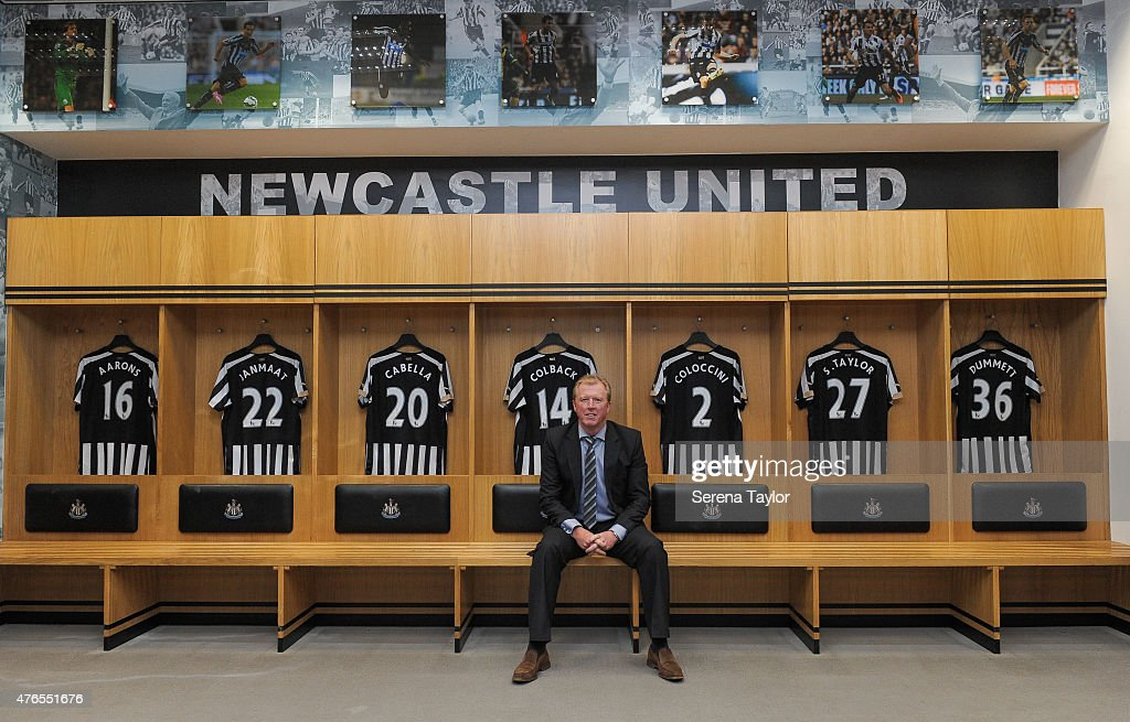 Newcastle United's New Head Coach Steve McClaren poses for photographs in the home dressing room at St.James' Park during the Newcastle United Photo call on June 10, 2015, in Newcastle upon Tyne, England.