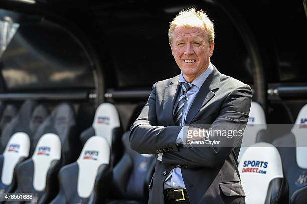 Newcastle United's New Head Coach Steve McClaren poses for photographs in the dugout at StJames' Park during the Newcastle United Photo call on June...