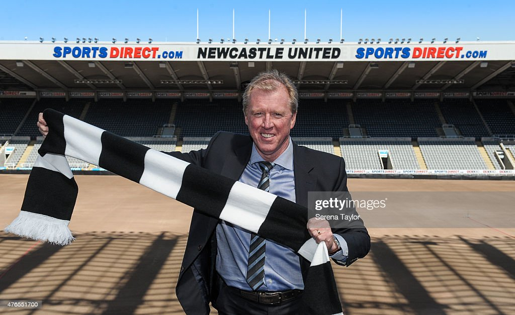 Newcastle United's New Head Coach Steve McClaren poses for photographs pitch side holding a NUFC scarf at St.James' Park during the Newcastle United Photo call on June 10, 2015, in Newcastle upon Tyne, England.