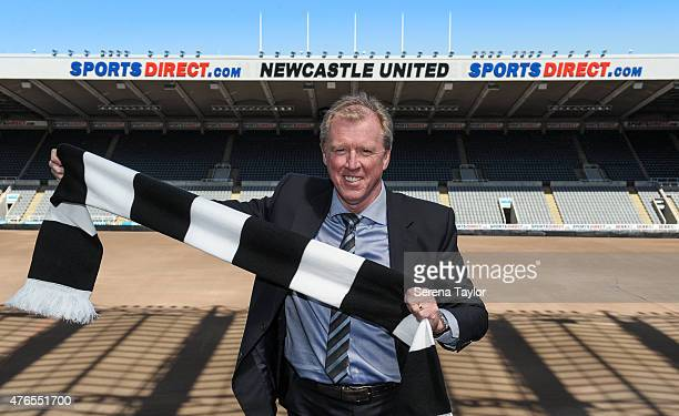 Newcastle United's New Head Coach Steve McClaren poses for photographs pitch side holding a NUFC scarf at StJames' Park during the Newcastle United...