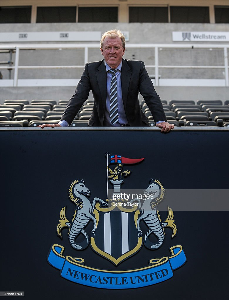 Newcastle United's New Head Coach Steve McClaren poses for photographs with the club crest at St.James' Park during the Newcastle United Photo call on June 10, 2015, in Newcastle upon Tyne, England.
