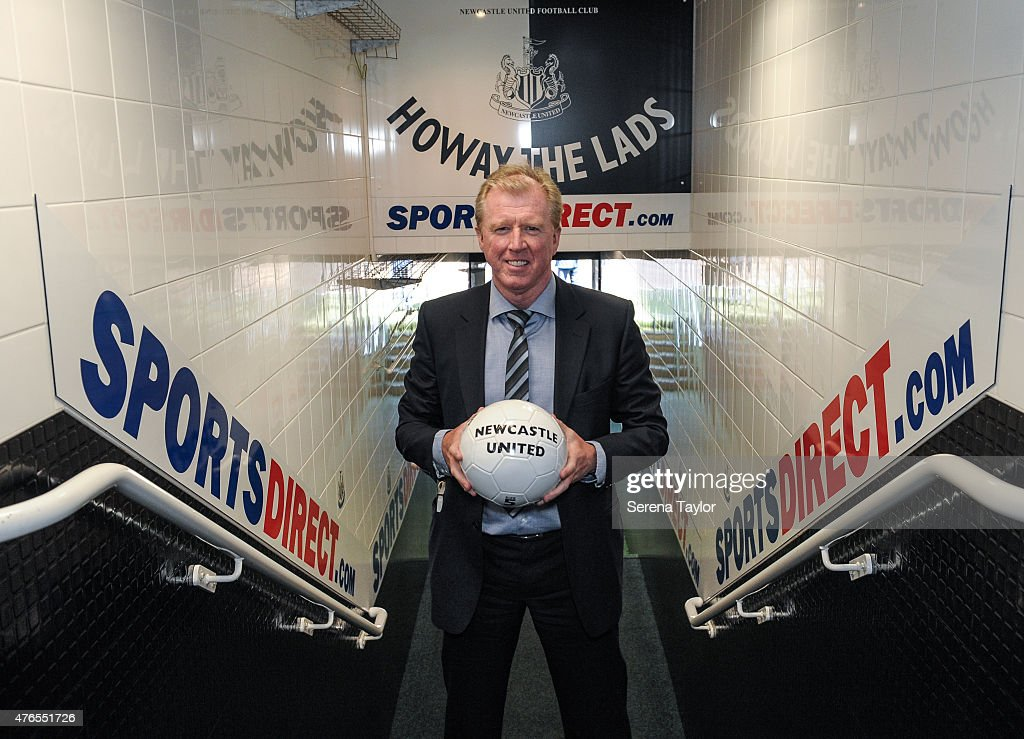 Newcastle United's New Head Coach Steve McClaren poses for photographs in the tunnel holding a football at St.James' Park during the Newcastle United Photo call on June 10, 2015, in Newcastle upon Tyne, England.