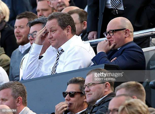 Newcastle United's owner Mike Ashley and managing director Lee Charnley look on ahead of the English Premier League football match between Newcastle...