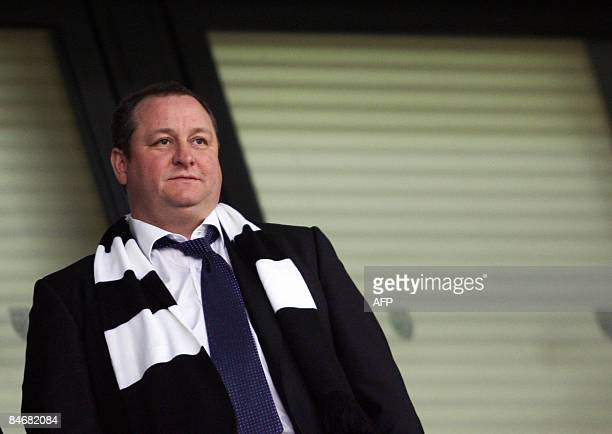 Newcastle United's owner Mike Ashley is pictured in the stands before the game against West Bromwich Albion during their Premiership football match...