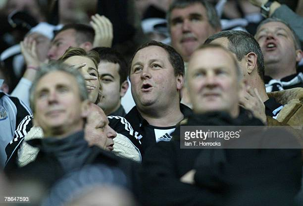 Newcastle United's owner Mike Ashley looks on during the Barclays Premier League match between Wigan Athletic and Newcastle United at the JJB Stadium...