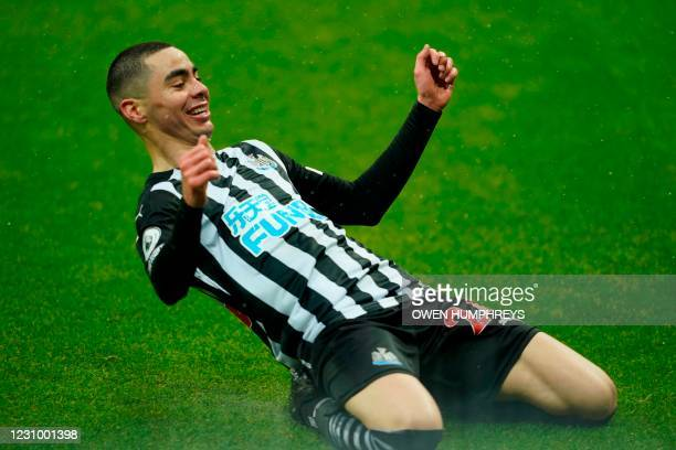 Newcastle United's Paraguayan midfielder Miguel Almiron celebrates after he scores his team's third goal during the English Premier League football...