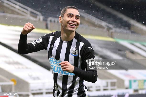 Newcastle United's Paraguayan midfielder Miguel Almiron celebrates scoring in the first minute of the English Premier League football match between...