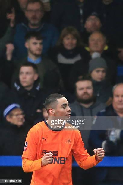 Newcastle United's Paraguayan midfielder Miguel Almiron celebrates after scoring his team's first goal during the English FA Cup third round football...