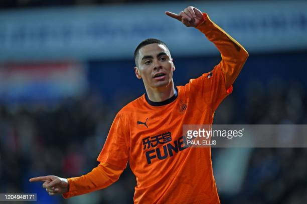 Newcastle United's Paraguayan midfielder Miguel Almiron celebrates after scoring his team's second goal during the English FA Cup fifth round...