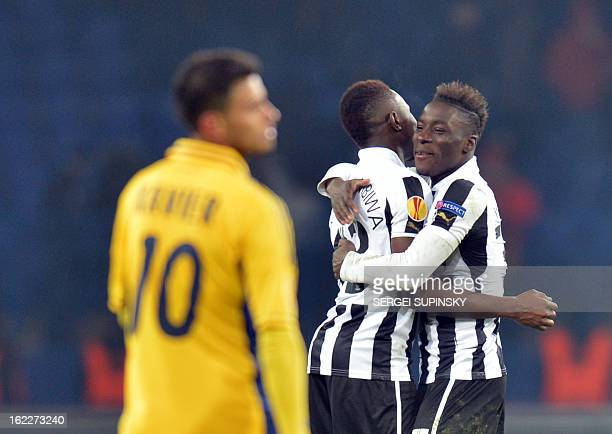 Newcastle United's players celebrate after their victory against FC Metalist Kharkiv during their UEFA Europa League, Round of 32, football match on...