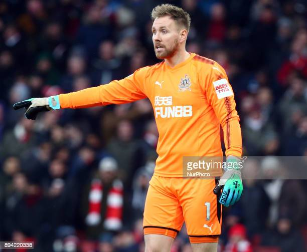 Newcastle United's Rob Elliot during Premier League match between Arsenal and Newcastle United at The Emirates London 16 Dec 2017