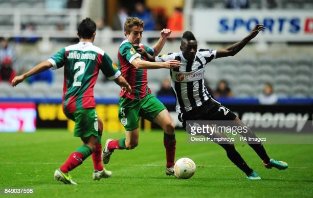 Newcastle United's Sammy Ameobie and Maritimo's Rafael Miranda during the UEFA Europa League match at St James' Park Newcastle