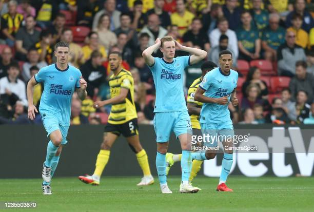 Newcastle United's Sean Longstaff after a first half miss during the Premier League match between Watford and Newcastle United at Vicarage Road on...