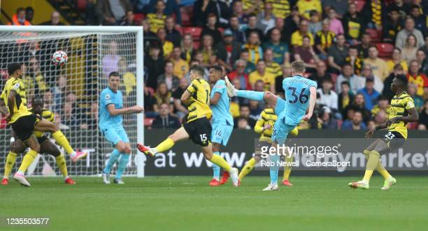 Newcastle United's Sean Longstaff with a first half shot during the Premier League match between Watford and Newcastle United at Vicarage Road on...