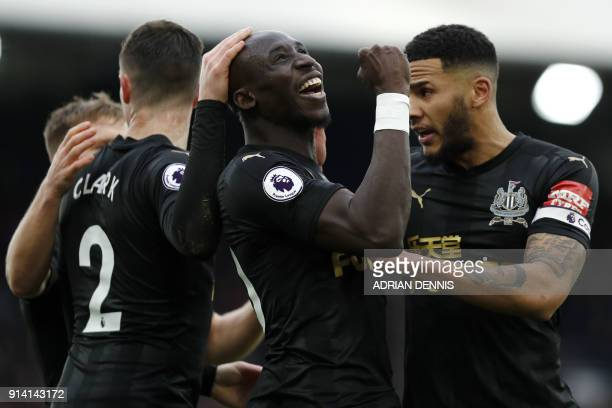Newcastle United's Senegalese midfielder Mohamed Diame celebrates the team's first goal during the English Premier League football match between...