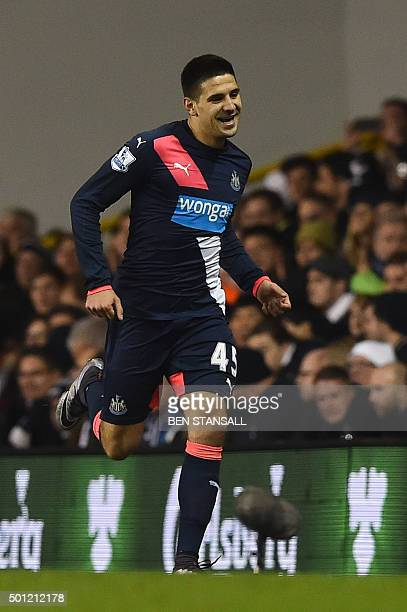 Newcastle United's Serbian striker Aleksandar Mitrovic celebrates scoring their first goal to eqaulise 11 during the English Premier League football...