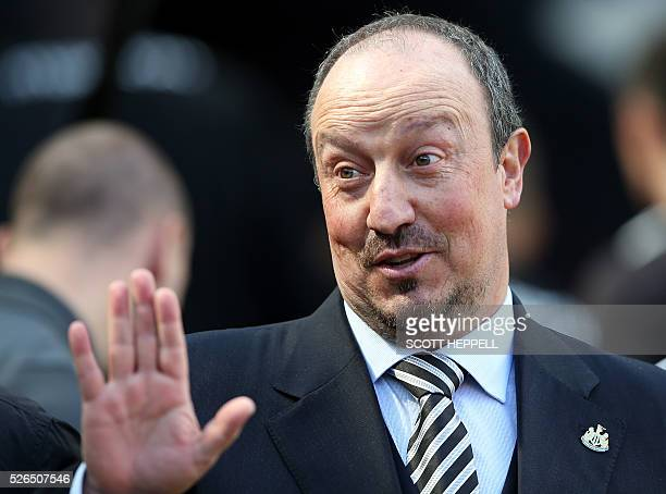 Newcastle United's Spanish manager Rafa Benitez arrives for the English Premier League football match between Newcastle United and Crystal Palace at...
