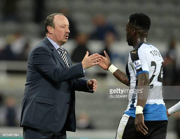 Newcastle United's Spanish manager Rafa Benitez congratulates Newcastle United's Ivorian midfielder Cheick Tiote after the English Premier League...