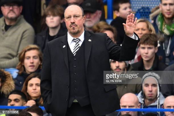 Newcastle United's Spanish manager Rafael Benitez gestures on the touchline during the English FA Cup fourth round football match between Chelsea and...