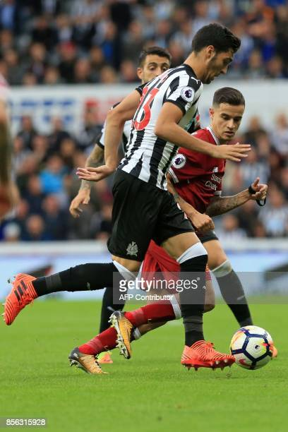 Newcastle United's Spanish midfielder Mikel Merino runs with the ball during the English Premier League football match between Newcastle United and...