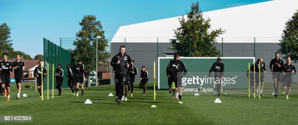 Newcastle United's Sports Scientist Jamie Harley takes the warm up session during the Newcastle United Training session at the Newcastle United...