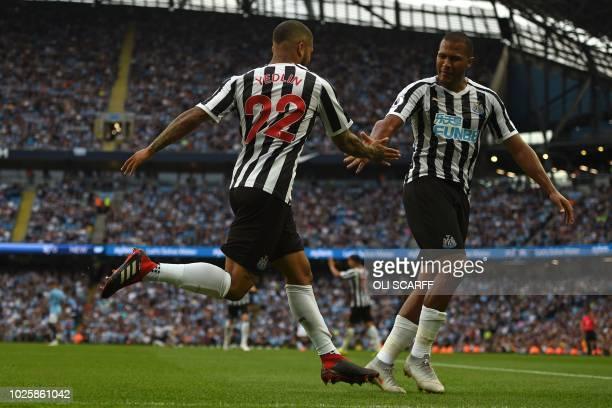 Newcastle United's US defender DeAndre Yedlin celebrates with Newcastle United's Venezuelan striker Salomon Rondon after scoring their first goal...