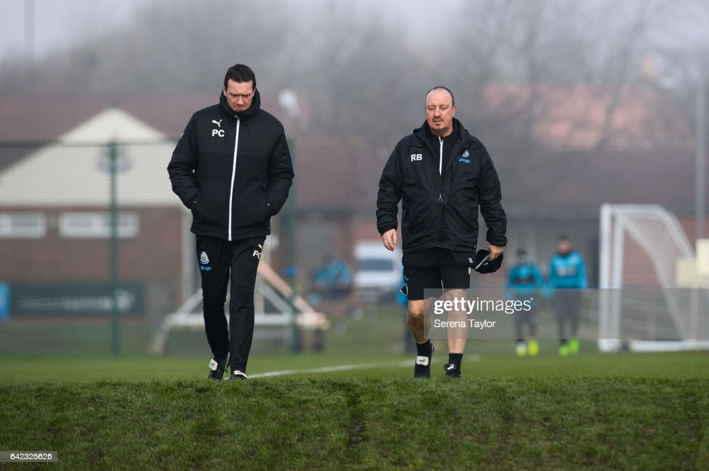 Newcastle United'sManager Rafael Benitez (R) walks outside with Club Doctor Paul Catterson (L) during the Newcastle United Training Session at The Newcastle United Training Centre on February 17, 2017 in Newcastle upon Tyne, England.