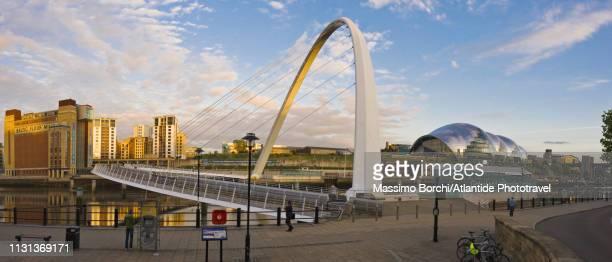 newcastle upon tyne area, gateshead millennium bridge - image stock pictures, royalty-free photos & images