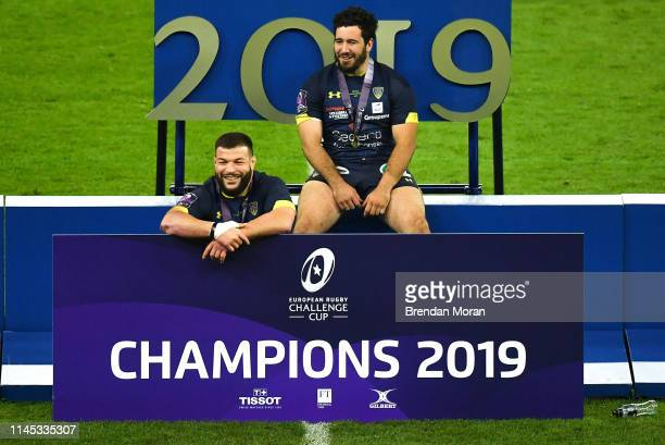 Newcastle Upon Tyne United Kingdom 10 May 2019 Rabah Slimani left and Etienne Falgoux of ASM Clermont Auvergne after the Heineken Challenge Cup Final...