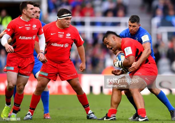 Newcastle Upon Tyne United Kingdom 11 May 2019 Billy Vunipola of Saracens is tackled by Rob Kearney of Leinster during the Heineken Champions Cup...