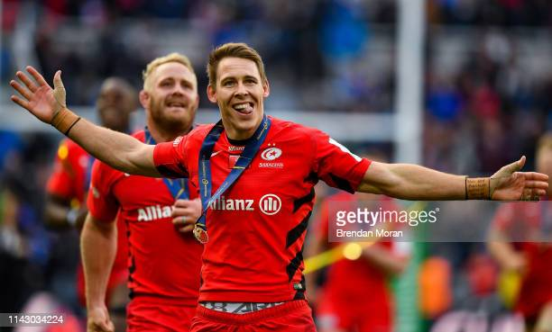 Newcastle Upon Tyne United Kingdom 11 May 2019 Liam Williams of Saracens celebrates after the Heineken Champions Cup Final match between Leinster and...