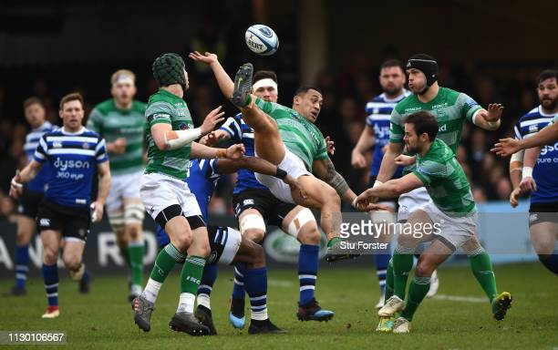 Newcastle wing Sinoti Sinoti goes up for as high ball during the Gallagher Premiership Rugby match between Bath Rugby and Newcastle Falcons at...